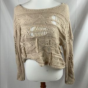 Rubbish Distressed Cabled Pullover